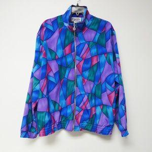 VTG 80s Teddi multi-color poly jacket